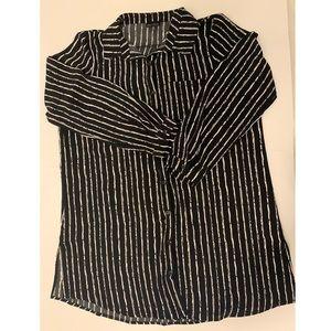 Zenobia Black & White Striped Blouse